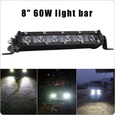 8 Inch 60W 6000LM LED Work Light Bar LED Headlight Lens Offroad 4WD SUV Driving Fog Lamp