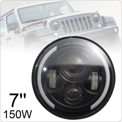 7 Inch 150W Round Black LED Headlight with High Low Beam White DRL Amber Turn Signal  for Jeep Wrangler