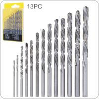 13pcs/set HHS 4241 Twist Drill Bits Hole  with Straight Shank and Plastic Box for Drilling Aluminum / Plastic / Wood