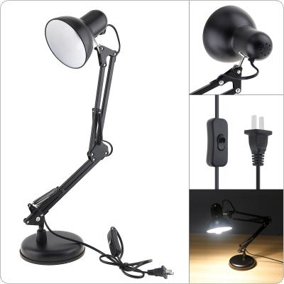 Black Flexible Swing Arm Clamp Mount Desk Lamp with Base and Key Switch Support E27 Bulb for Office / Home