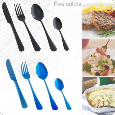 4pcs/Set 5 Colors Universal Thickened Simple Pure Color 430 Stainless Steel Tableware  Knife Fork Spoon  for Kitchen Food Tableware Dinnerware