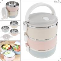 2.1L Portable Hand-held Removable 3 Colors High Capacity 201 Stainless Steel + PP Three Layer Insulation Barrel Lunch Box