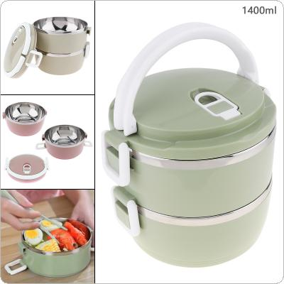 4 Colors 1.4L Portable Hand-held Removable High Capacity 201 Stainless Steel + PP Two Layer Insulation Barrel Lunch Box