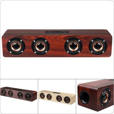 W8 4 Horns 12W Wooden Wireless Bluetooth Speaker with TF Card Playback and AUX  Wired Connection for Smartphone / PC / Television