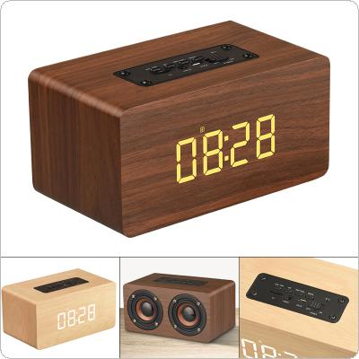 W5C 52MM Double Horn Wooden 4.2 Bluetooth Alarm Clock Speaker with Time Display and AUX Wired Connection for Smartphone / PC