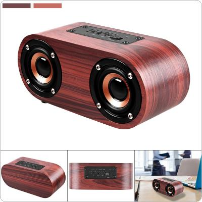 Q8 6W Wooden Double Horn 4.2 Bluetooth Wireless Speaker Support AUX Cable Connection and TF Card Playback for Smartphone / Tablet PC / MP3