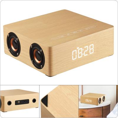 Q5C Clock Edition Wooden Bluetooth Speaker Home Four Speakers with Time Display and 12W Full Frequency Horn for Smartphone / PC / MP3