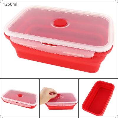 1250ML Red Portable Rectangle Silicone Scalable Folding Lunchbox Bento Box with Thickening Card Buckle for - 40 ~ 230 Centigrade