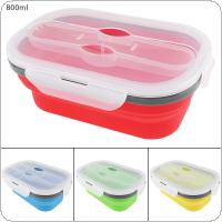 4 Colors 800ML Folding Portable Ellipse Silicone Scalable Lunchbox Bento Box with Thickening Card Buckle and Three Purpose Tableware for - 40 ~ 230 Centigrade