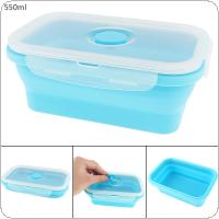 550ML Blue Portable Rectangle Lunchbox Silicone Scalable Folding Bento Box with Thickening Card Buckle  for - 40 Centigrade ~ 240 Centigrade