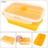 750ML Orange Portable Rectangle Lunchbox Silicone Scalable Folding Bento Box with Thickening Card Buckle  for - 40 Centigrade ~ 240 Centigrade