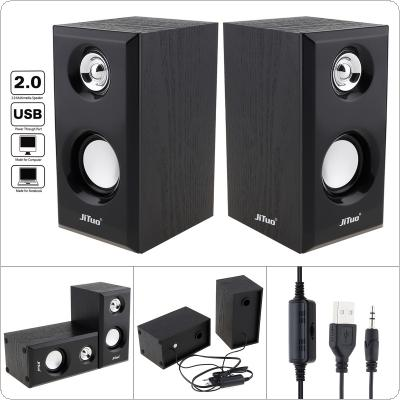 JT-2803 USB 2.0 Wooden Subwoofer Multimedia Speaker with 3.5mm Stereo Jack and Bass Air Vent for PC / Laptop / MP3
