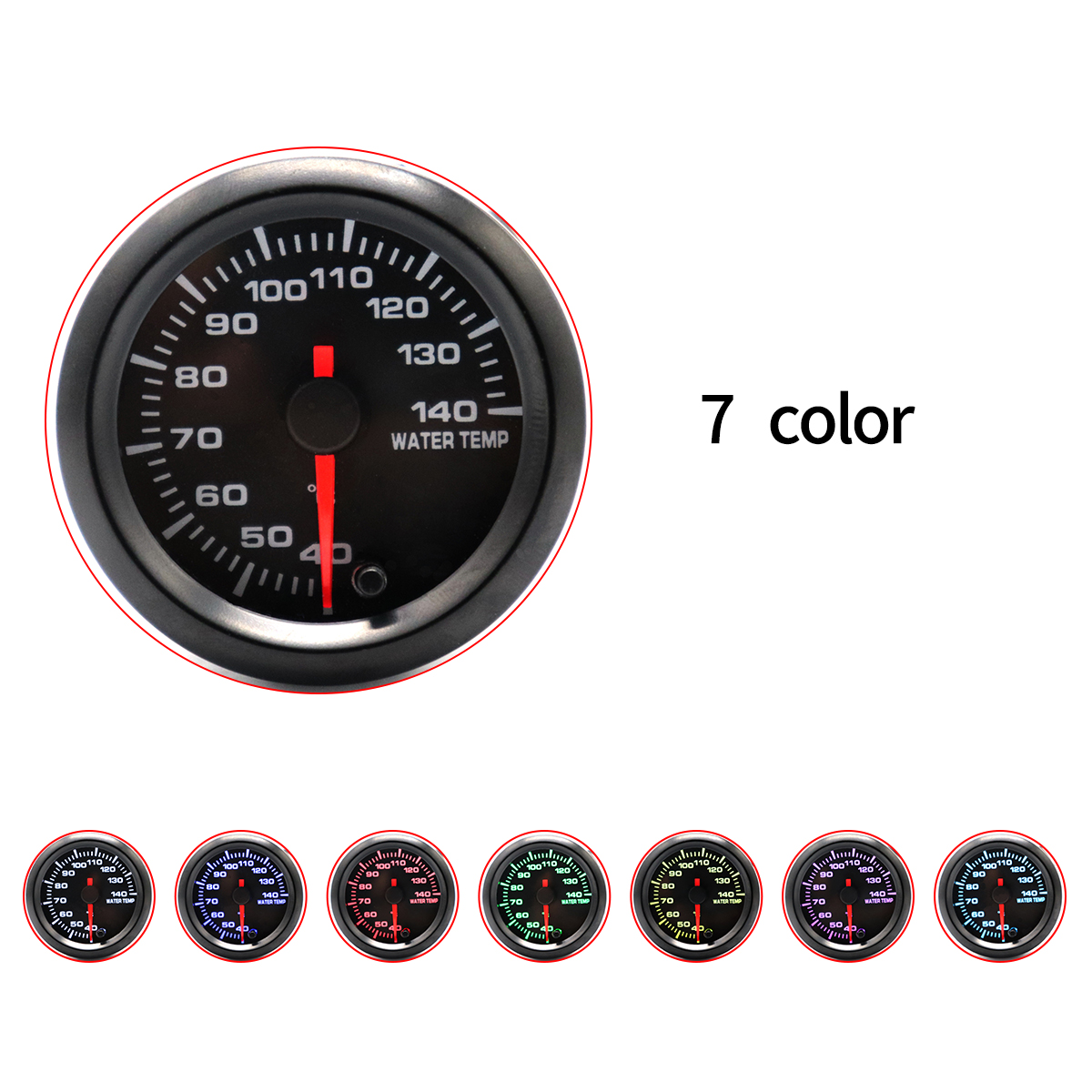 52MM 2Inch 12V 40~140 Degree Celsius Universal Car Motor Gauge Water Temperature Meter Black Shell with Seven Color Backlight