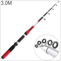 3.0m Portable Telescopic Glass Fiber Fishing Rod Travel Sea Rock Spinning Fishing Pole
