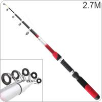 2.7m Portable Telescopic Glass Fiber Fishing Rod Travel Sea Rock Spinning Fishing Pole