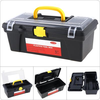 12 Inch Protable Multifunctional PP Plastic Tool Box with Removable Two-layer Storage for Home / Workshop Collect Parts