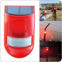 Sound and Light PIR Motion Sensor Solar Warning Lamp with 110 Degree Lateral Sensing and Two Modes Switch for Farm / Factory / Mountain Villas