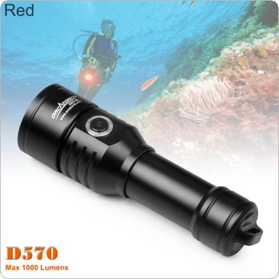 ORCATORCH D570 1000 Lumens 2-in-1 Beams + Laser Diving Flashlight with Red Laser and Underwater 150m Diving for Professional Diving / Outdoor