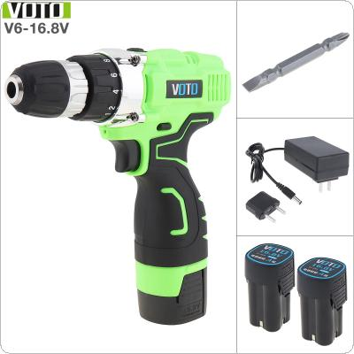 VOTO AC 100 - 240V Cordless Max 16.8V Electric Screwdriver with 2 Li-ion Batteries and Two-speed Adjustment Button for Handling Screws / Punching