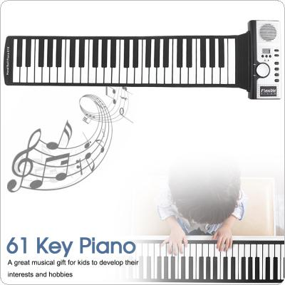 61 Keys Electronic Portable Silicone Flexible Hand Roll Up Piano Built-in Speaker MIDI Out Keyboard Organ