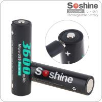 Soshine 2pcs NCR 18650 Li-ion 3.7V 13.32WH 3600mAh Rechargeable Battery with Micro USB Protected and DC Charging Intelligent Cell for Flashlight / Headlamp