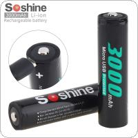 Soshine 2pcs NCR 18650 Li-ion 3.7V 11.1WH 3000mAh Rechargeable Battery with Micro USB Protected and DC Charging Intelligent Cell for Flashlight / Headlamp