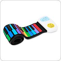 49 Keys Colorful Silicon Flexible Hand Roll Up Piano Electronic Keyboard Organ Built-in Speaker Enlightenment Music Gift