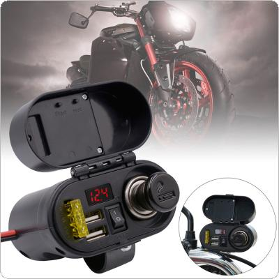 Motorcycle Waterproof Multi-function Cigarette Lighter USB Charger with Voltmeter Time Display