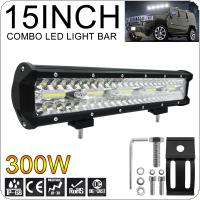 30000LM 15 Inch 300W Led Work Light Bar 6000K White Waterproof  for Off-Road Suv Boat 4X4 Jeep JK 4Wd Truck 12V-24V