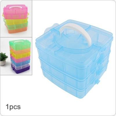 Three-layer 18 Lattice PP Plastic Small Portable Detachable Storage Hold-all Box for Tools / Home