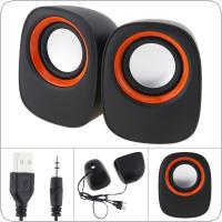 D-05A 5W Mini USB 2.0 Speakers with 3.5mm Stereo Jack and USB Powered for PC / Laptop / Smartphone