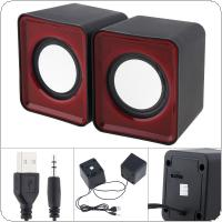 G-101 5W Mini USB 2.0 Speakers with 3.5mm Stereo Jack and USB Powered for PC / Laptop / Smartphone