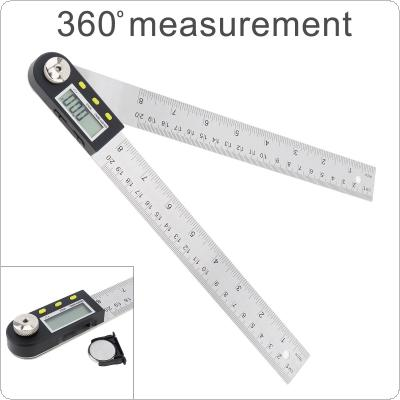 200mm / 0 - 360° Precision Multifunction Stainless Steel Digital Display Angle Ruler with LCD Screen and Switch for Home Improvement Measurement