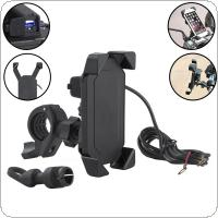 12 - 24V DC 5V 2.1A USB ABS Telescopic Type Round Terminal Bracket Motorcycle Charger for 3.5 - 7 Inches Mobile Phone