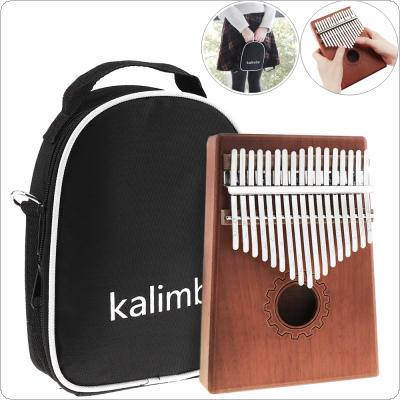 17 Key Kalimba Single Board Mahogany Thumb Piano Set Mbira Mini Keyboard Instrument with Bag and Complete Accessories