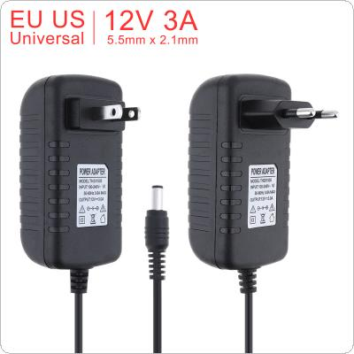 100-240V AC to DC Power Adapter Supply Charger Adapter 12V 3A US EU Plug 5.5mm x 2.1mm