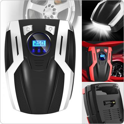 12V 35L/Min 120W Portable Car Digital Display Multifunctional Electric Inflating Pump with 4 LED Light / Four Nozzle for SUV / Sedan / MPV