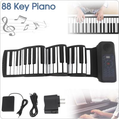 88 Keys USB MIDI Roll Up Piano Electronic Portable Silicone Flexible Keyboard Organ Built-in Speaker with Sustain Pedal