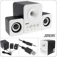 SADA D-203 Wired Mini Bass Cannon 3W PC Combination Speaker Mobile Column Computer Speaker with 3.5mm Stereo Jack and USB 2.1 Wired Powered for Desktop PC