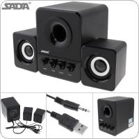 SADA D-203 Bass Cannon 3W Bluetooth Combination Speaker with 3.5mm Stereo Jack and USB 2.1 Wired Powered for Laptop / Computer / Smartphone