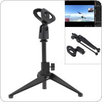 Mini Portable Black Table Tops Microphone Stand with Zinc Alloy Metal Tripod Mic Stand Bracket Support Desktop Adjustable for Live Broadcast / Meeting / Speech