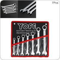 7pcs/set Fixed Head Ratchet Wrench 8mm-19mm CRV  Ratchet Wrench Hardware Tools  with Cloth Bag for Home / Office / Construction Site
