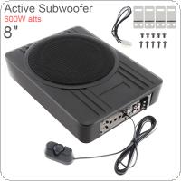 Universal Black Fuselage Slim 8 Inch 600W Slim Under Seat Car Active Subwoofer Bass Amplifier Speaker