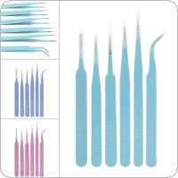 6pcs Precision Tweezers Set 116mm-133mm Anti Static Stainless Steel Tweezers for Craft / Jewelry / Electronics / Laboratory