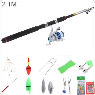 2.1m Fishing Rod Reel Line Combo Full Kits 3000 Series Spinning Reel Pole Set with Fishing Float Hooks Beads Bell Lead Weight Etc