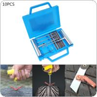 10pcs Universal Steel Metal Portable Vacuum Tire Repair Fast Repairing Tool Kit with 5 Rubber Strip for Car / Motorcycle / Bicycle