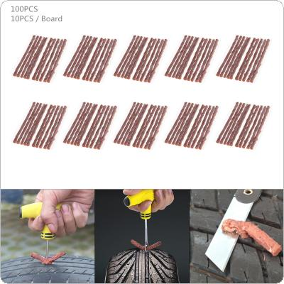 100PCS Universal 100 x 3.5 mm Brown Anti Corrosion Tyre Fast Repairing Rubber Strips for Car / Motorcycle / Bicycle