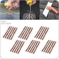 30PCS Universal 100 x 6 mm Brown Anti Corrosion Tyre Fast Repairing Rubber Strips for Car / Motorcycle / Bicycle