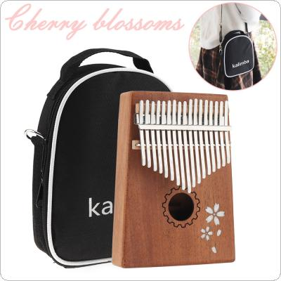 17 Keys Kalimba Single Board Mahogany Sakura Inlay Thumb Piano Set Mbira Mini Keyboard Instrument with Bag