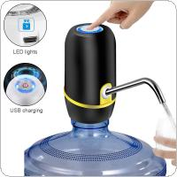 Portable Mini Push-button Wireless Rechargeable Electric Dispenser Water Pump with USB Cable / Blue Light / 304 Stainless Steel Tube for 4.5L - 18.9L Barrelled